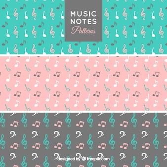 Set van mooie kleurrijke patronen met muzieknoten