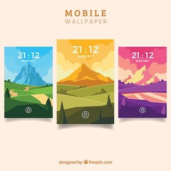 Set van mooie kleurrijke wallpapers van mobiele telefoon