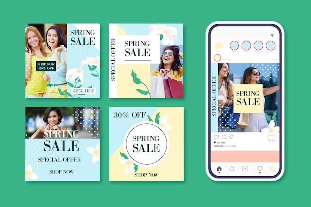 Set van mooie lente verkoop instagram-berichten