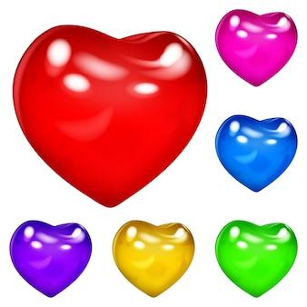 Set van mooie ondoorzichtige glanzende harten in verschillende kleuren op witte achtergrond