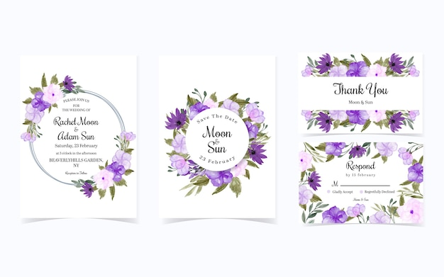 Set van mooie paarse bloem bruiloft uitnodiging