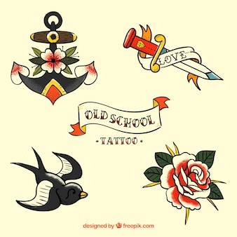 Set van mooie retro hand getekende tatoeages