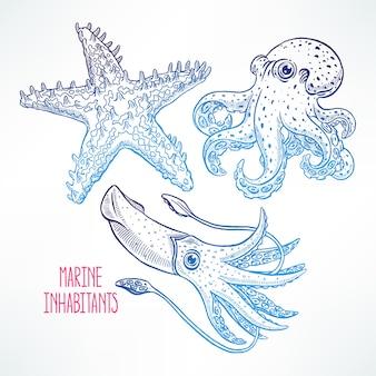 Set van mooie schattige zeedieren. handgetekende illustratie