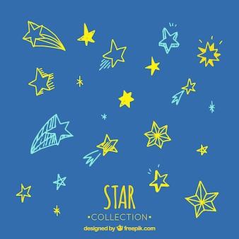 Set van mooie schetsen van kleurrijke sterren