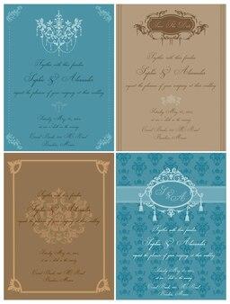 Set van mooie vintage kaarten - voor bruiloft, uitnodiging, felicitatie