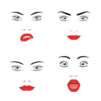 Set van mooie vrouw gezicht silhouet. emoties en vreugde, verrassing en woede.