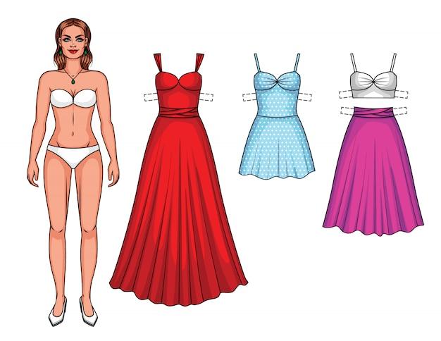 Set van mooie vrouw met kleding van de jurk. papieren poppenmeisje met geïsoleerde jurken en rok