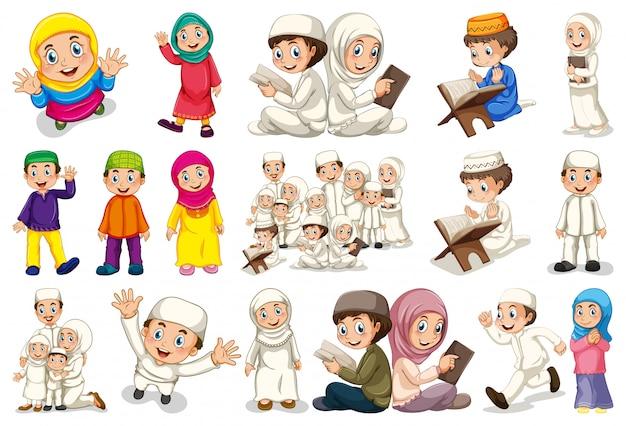 Set van moslim karakter