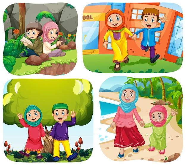 Set van moslimmensen stripfiguur in verschillende scène