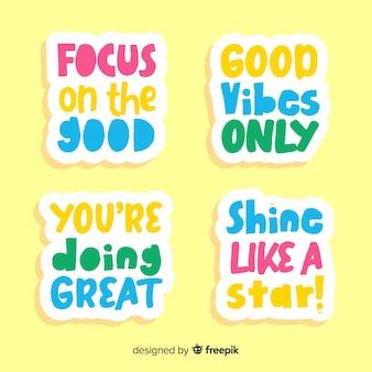 Set van motiverende belettering stickers