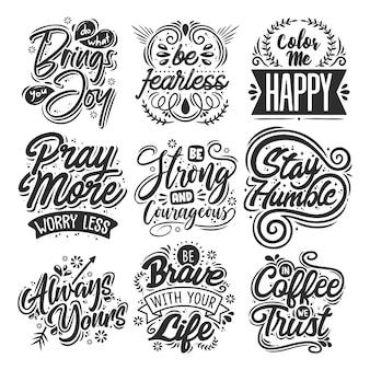 Set van motiverende citaten Gratis Vector