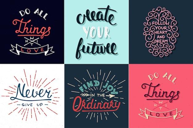 Set van motiverende en inspirerende typografie kaarten