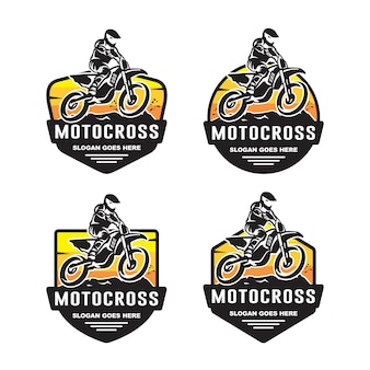 Set van motocross logo sjabloon