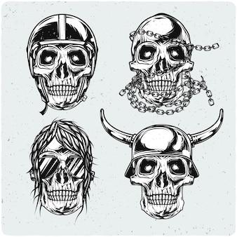 Set van motorrijder schedels