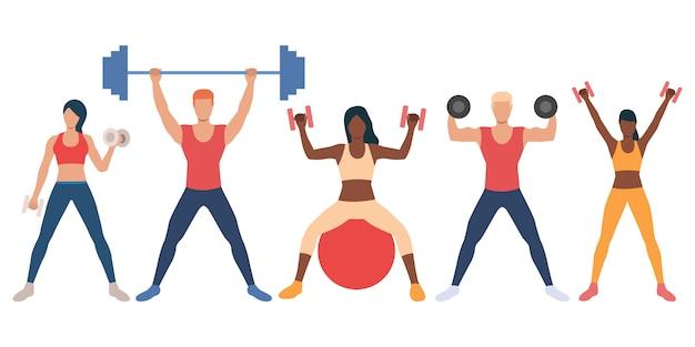 Set van multi-etnische mensen met gewichten