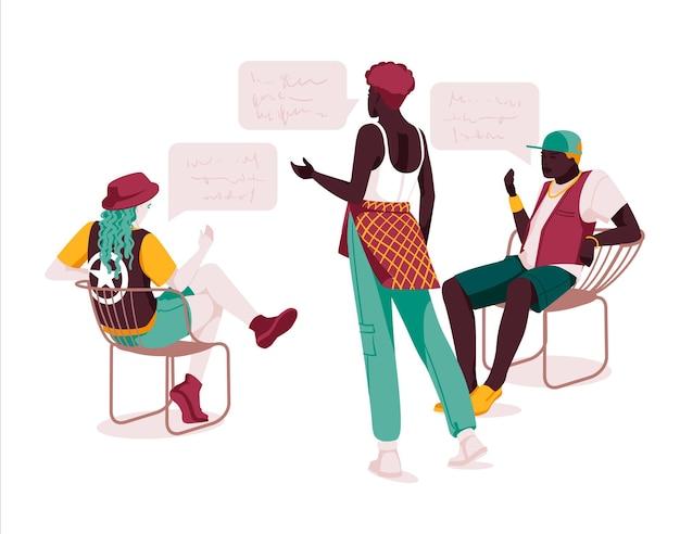 Set van multi-etnische mensen praten of spreken verzameling van chatten paren met tekstballonnen mannen en vrouwen ontmoeten dialogen tussen tekens platte vectorillustratie geïsoleerd op wit
