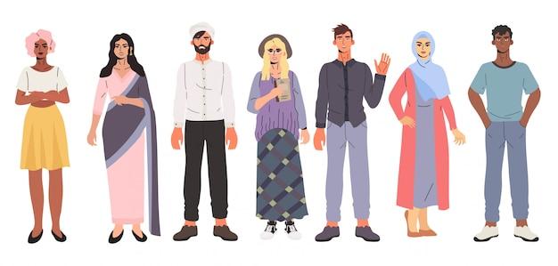 Set van multiculturele multi-etnische groep uiteenlopende mensen.