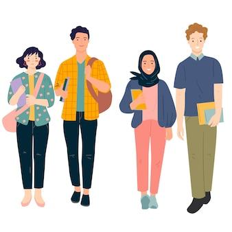Set van multiculturele studenten samen illustratie