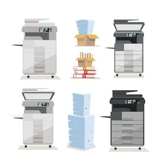 Set van multifunctionele copierprinterscanner op kantoorvloer in twee kleuren