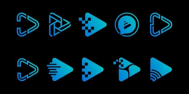 Set van multimedia-logo met afspeelknop premium vector