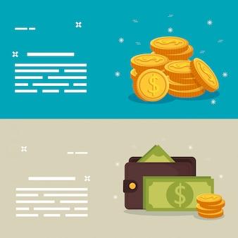 Set van munten met portemonnee en rekeningen