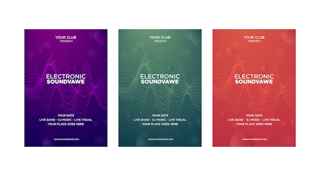Set van muziek cover ontwerpsjabloon moderne abstract. futuristische golf is vervormd met puntlijn