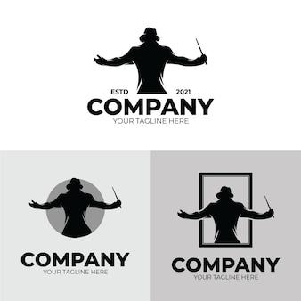 Set van muziek dirigent logo ontwerp