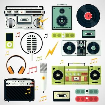 Set van muziek en geluidspictogrammen