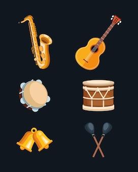 Set van muziekinstrumenten iconen