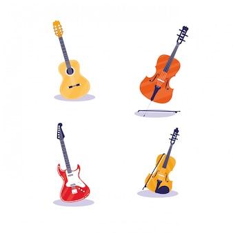 Set van muziekinstrumenten