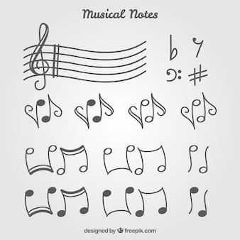 Set van muzieknoten en wenden
