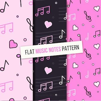 Set van muzieknotities patronen in vlakke vormgeving