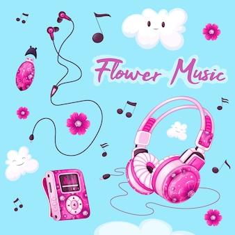 Set van muzikale accessoires. mp3-speler, hoofdtelefoon, vacuümhoofdtelefoons, usb-stick voor muziek