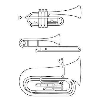 Set van muzikale blaasinstrumenten trompet trombone tuba, zwarte contour geïsoleerde vectorillustratie.