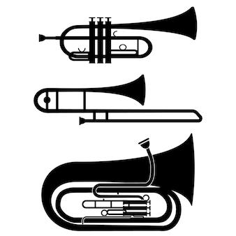 Set van muzikale blaasinstrumenten trompet trombone tuba, zwarte stencil geïsoleerde vectorillustratie.