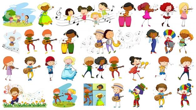 Set van muzikant karakter