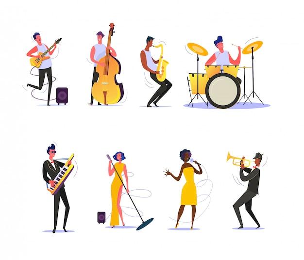Set van muzikanten uitvoeren op scène