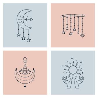 Set van mystieke astrologische illustraties