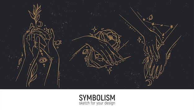 Set van mystieke composities. handen, vrouw, spiritualiteit, magie en spiritualiteit.