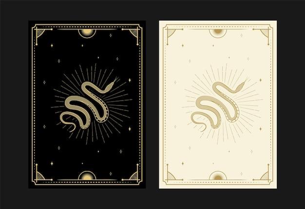 Set van mystieke tarotkaarten alchemistische doodle symbolen gravure van magische schedel bloemen stralen kristal