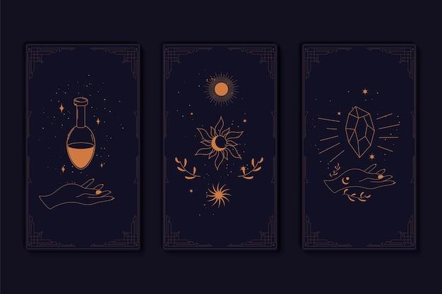 Set van mystieke tarotkaarten elementen van esoterische occulte alchemistische en heksen symbolen