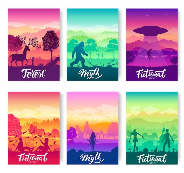 Set van mythen en legendes die mensen in flyers geloven