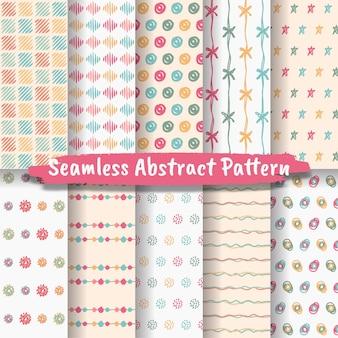 Set van naadloze abstracte patronen handgetekende trendy abstracte illustraties