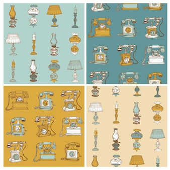 Set van naadloze achtergronden met vintage telefoons en lampen - hand getrokken