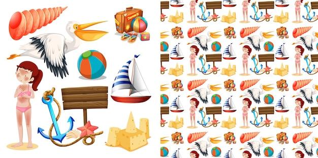Set van naadloze achtergrondontwerp met geïsoleerde objecten thema - zomer