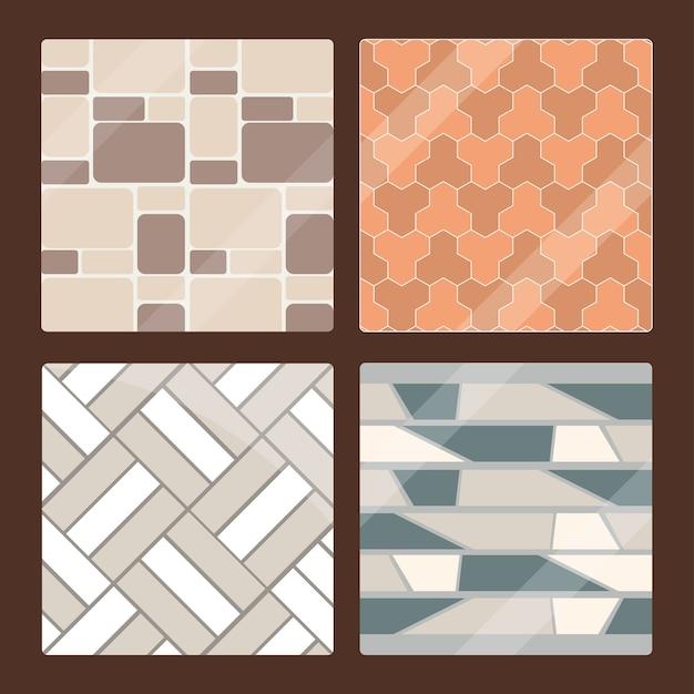 Set van naadloze bestrating textuur tegels en baksteen architectuur