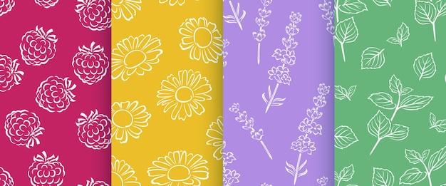 Set van naadloze bloemenpatronen.