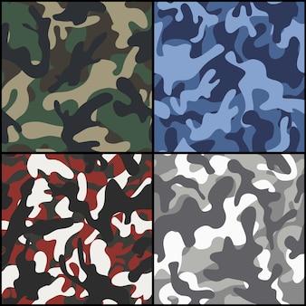 Set van naadloze camouflage stof patronen