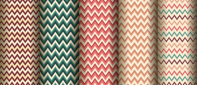 Set van naadloze creatieve zigzag patroon achtergrond