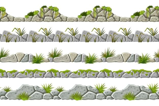 Set van naadloze grens oude grijze rots en gras